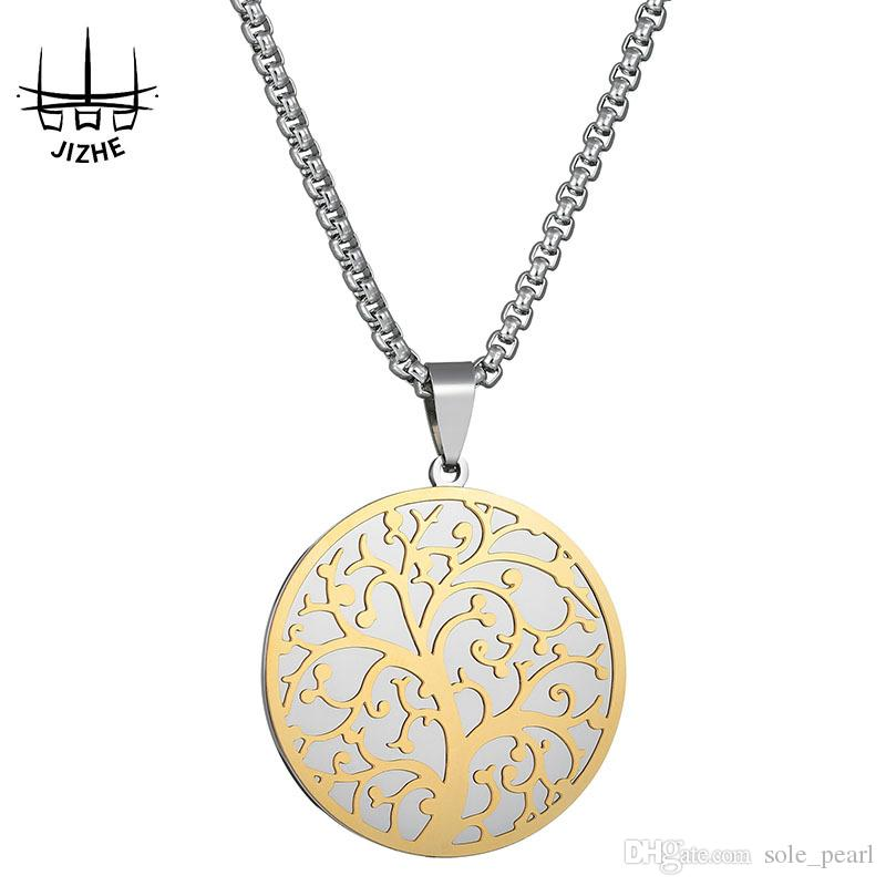 Mirror round pendant necklace for women life Tree pendant Gold choker charm Parent-child necklace jewelry Bicolor clavicular chain wholesale