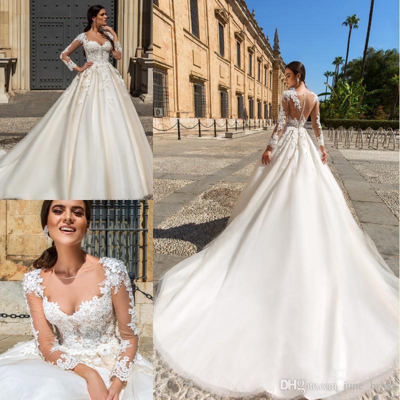 2018 Princess Ball Gown Castle Wedding Dresses Sheer Neck Long Sleeve  Cathedral Bridal Gowns Custom Made Vestide De Novia Nude Tulle Back Custom  Made ...