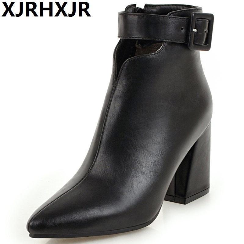 a33e2454d6dd5 Compre 8 CM Señoras Botas De Tobillo Mujer Plataforma Tacones Botas De  Mujer De Invierno Botas De Tacón Alto Negro Marrón Zapatos De Invierno De  Cuero ...