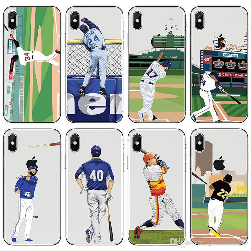 buy popular 4a49e 73d79 For apple iphone X cases fashion baseball star player TPU painted phone  cases ultra thin back silicone cover shell for iphone 5S 6S 7 8 Plus