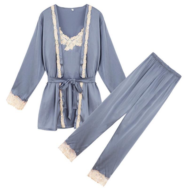 5a1e741c6e Compre Homewear Mujer Establece Satén Pijama Ropa De Dormir Albornoz Sexy  Camisones Ropa De Casa Otoño Mujeres Pijamas Conjunto Kimono Japonés A   37.08 Del ...