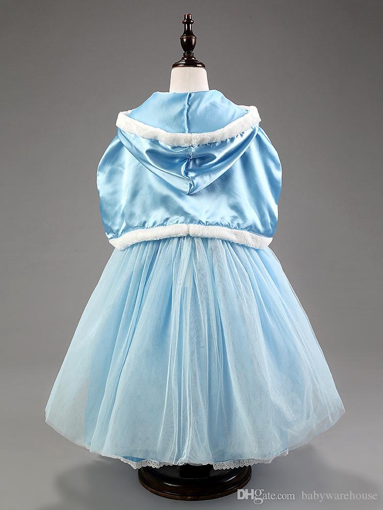 Détail filles robes cendrillon princesse robe + châle cape fée enfant en bas âge filles vêtements robe de soirée de mariage costume de fleur vêtements pour filles