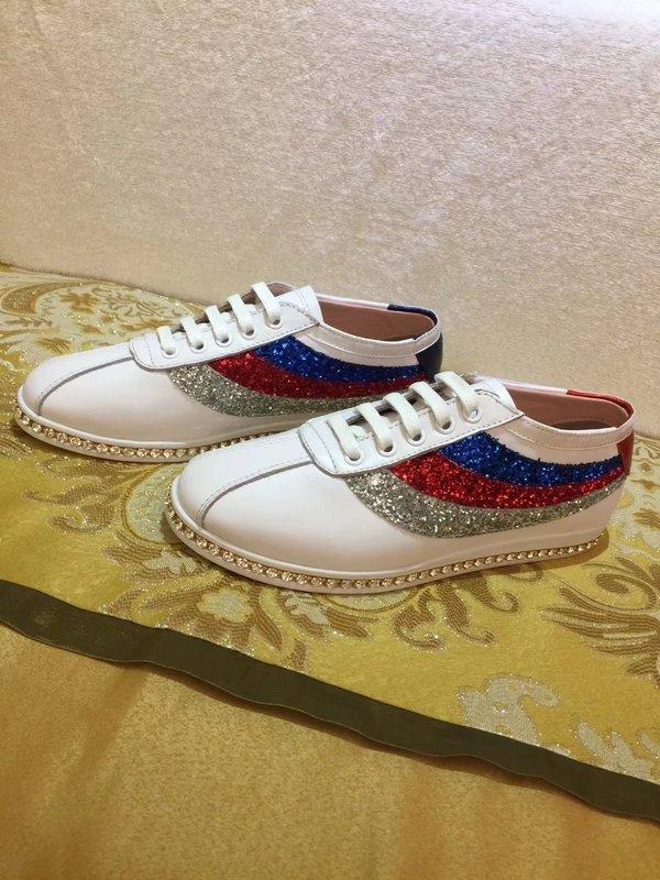 Top Quality Luxury Letter Ribbon diamond Flat shoes Cowhide Patent leather Woman Green Stripe casual shoes With Box