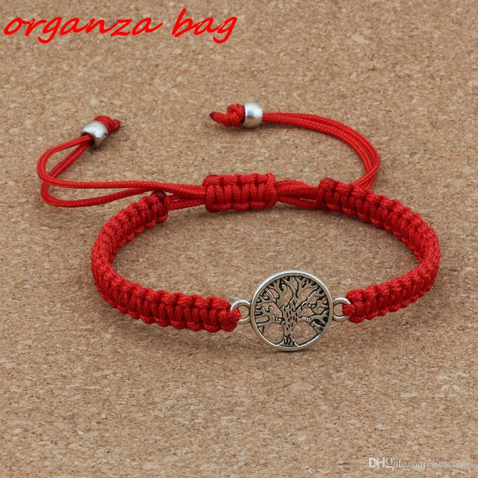 New men and women fashions Antique silver Alloy Tree of Life charm Red Chinese knot line Pure hand-woven Adjustable Bracelet