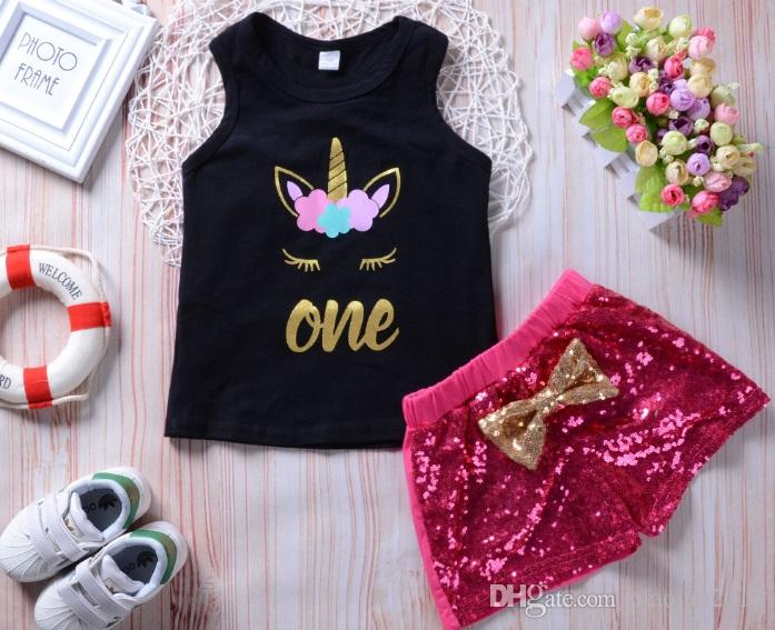 Toddler Kids Girl Sleeveless Unicorn Tank Tops With Sequins Shorts Baby Girls Summer Clothes Set 1-8 Years
