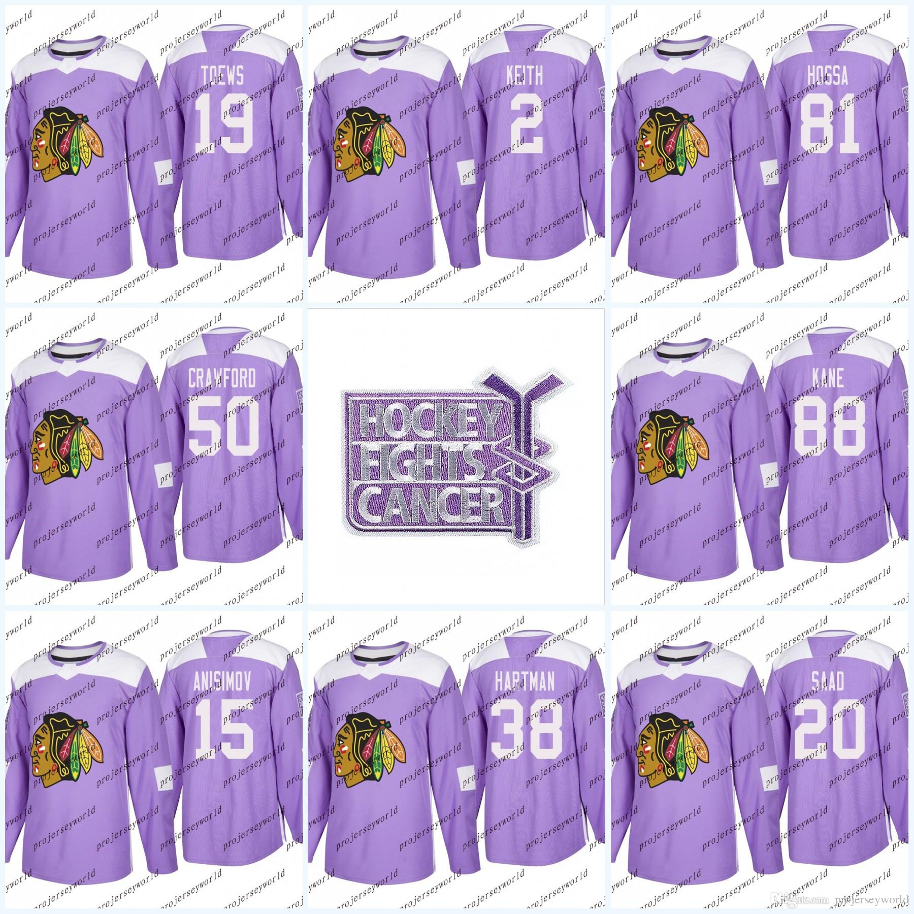 8caf09f87 2019 Youth 19 Jonathan Toews Purple Fights Cancer Chicago Blackhawks Jerseys  88 Patrick Kane 2 Duncan Keith 50 Corey Crawford Hockey Jerseys From ...