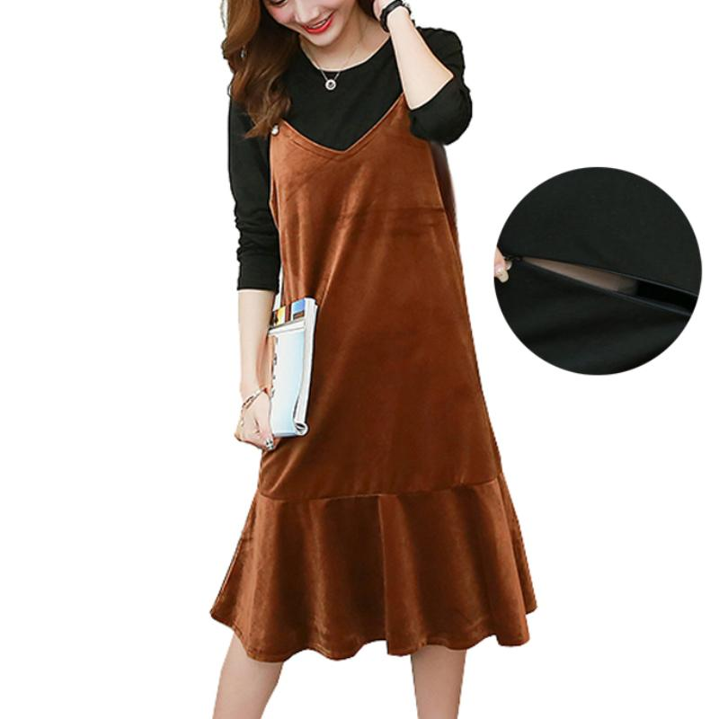 198096b2fec Maternity Nursing Tops T shirts Breastfeeding Clothes + Pleuche Slip Dress  for Pregnant Women Pregnancy Elegant Dresses TEE Set