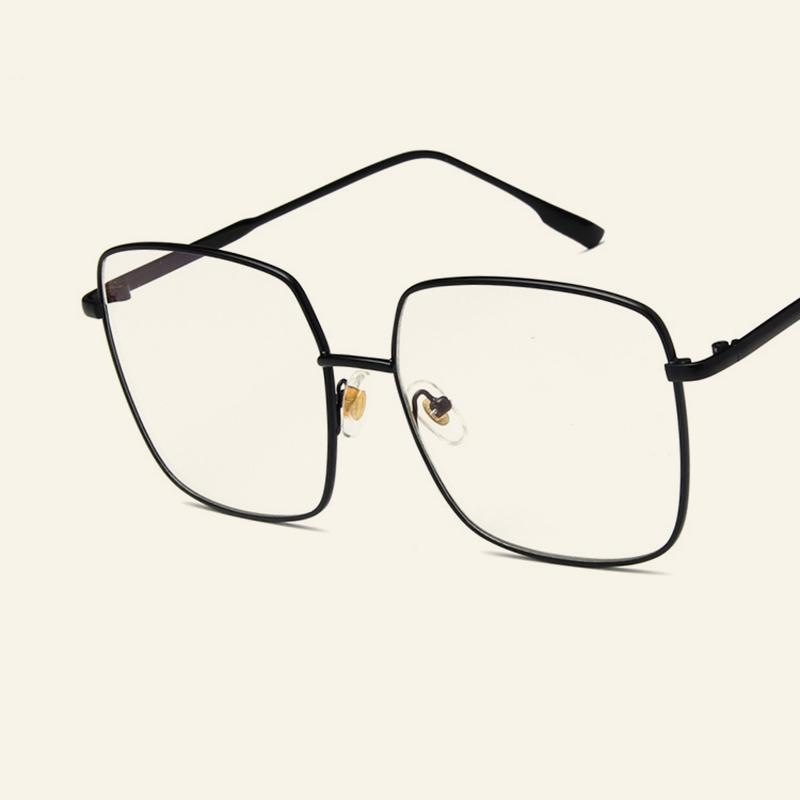 0d6429e0498 2019 Classic Big Square Frame Metal Glasses Male Female Vintage Eyewear  Frames Casual Clear Lens Goggles Men And Women s Spectacles From Value333