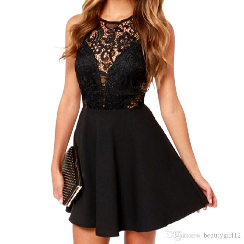 Fashion Women Sexy Sleeveless Lace Dress V Black Party Dresses Hollow Out Black Mini Dress Girl Dresses