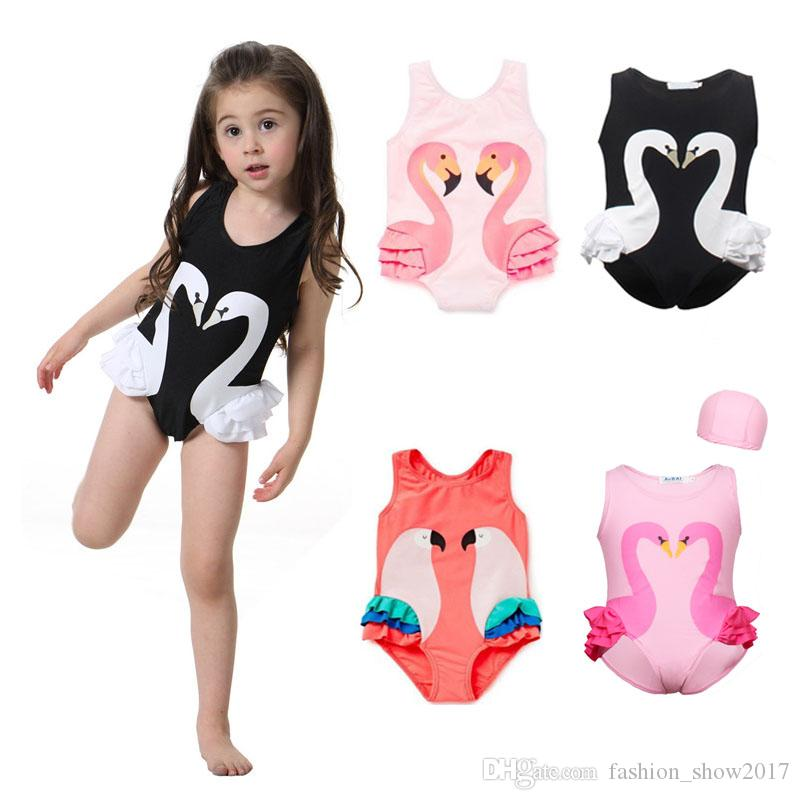 652965d7d7 2019 Flamingo Girls Swimsuit Kids Swan Swim Suit Baby Cap Boy Child One  Piece Swimwear For Children Cartoon Printed Parrot From Fashion show2017
