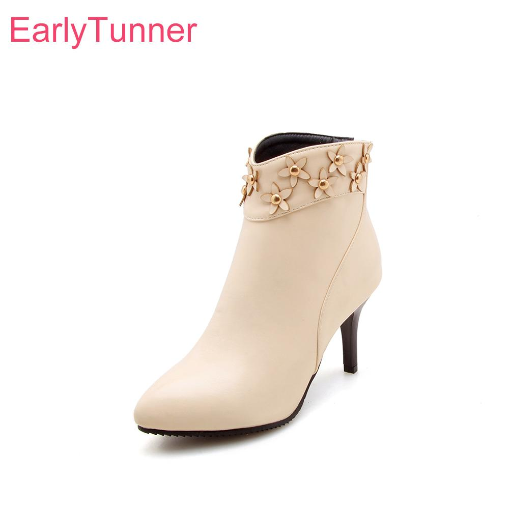 83200d3e60a Brand New Breathable Apricot Black Women Ankle Floral Boots Lady Nude Shoes  Spike Heels EK811 Plus Big Small Size 10 32 43 47