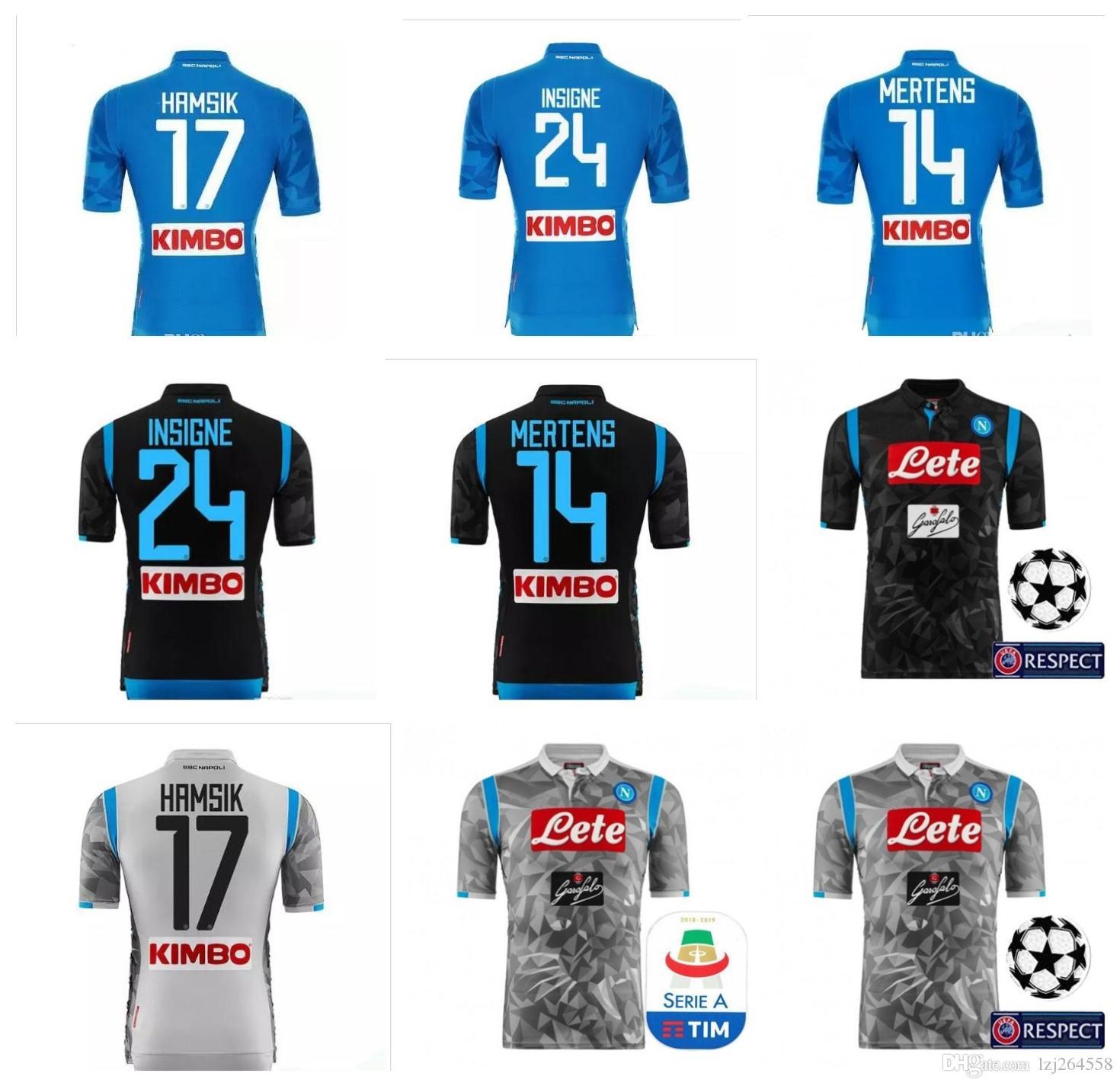 d9447f87cdcbf Nueva Camiseta Napoli Jersey 2018 De Fútbol Camiseta De Fútbol Hamsik  Maradona Uniforme Callejon Mertens Insigne Descuento 18 19 TOP Thai Naples  2019 Por ...