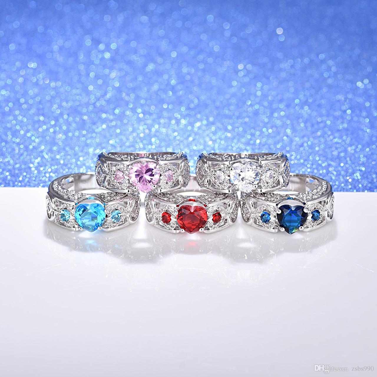 Toptan Beyaz Altın Kaplama Kalp Şekilli Zirkon Nişan / Düğün Parmak Yüzük Moda sevgililer Günü Hediye Takı Kadın Mix Renk Için