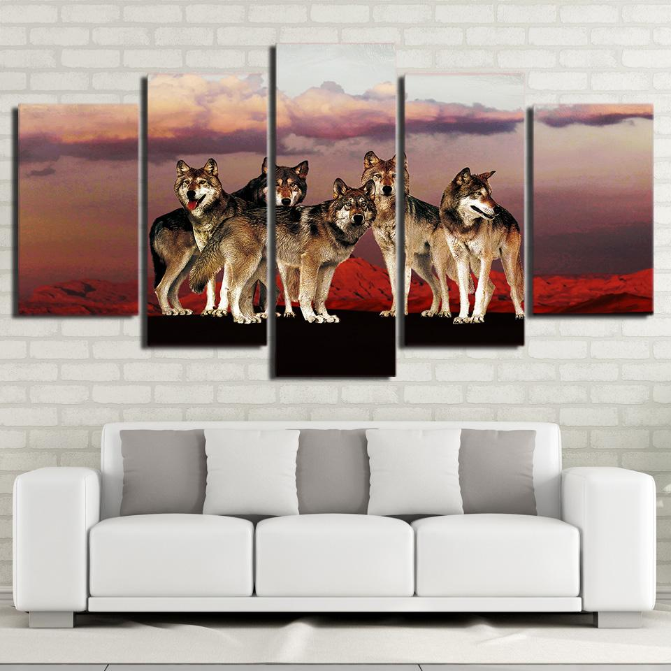 Posters Frame Living Room Wall Art 5 Panel Wolf In The Red Mountain Modern  Painting On Canvas Home Decoration Pictures HD Print