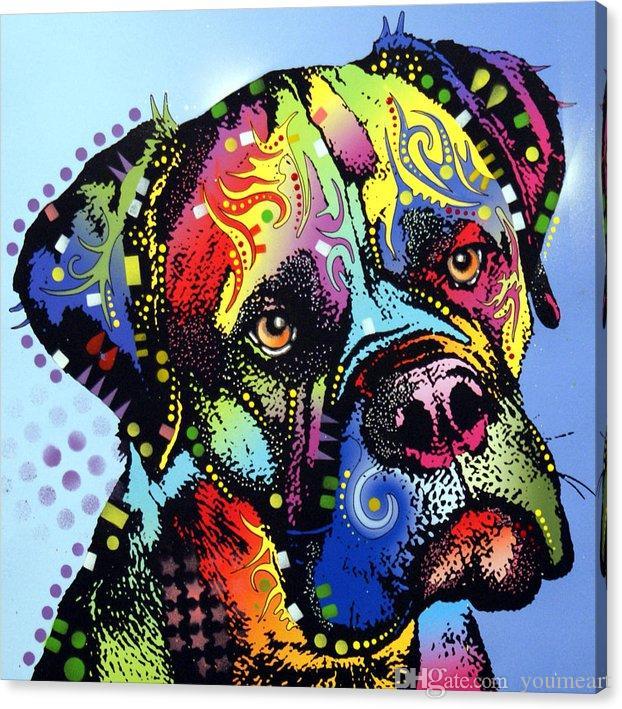 YOUME ARTE Animal Giclee o desejo de fundir o mastim-guerreiro artes da pintura a óleo e arte da decoração da parede da lona Pintura A Óleo sobre Tela 60X76 cm