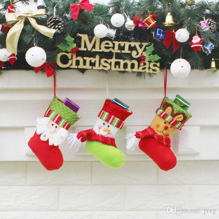 Christmas Stockings Hand Made Crafts Children Candy Gift Santa Bag Claus Snowman Deer Stocking Socks Xmas Tree Decoration toy gift #59 60 61