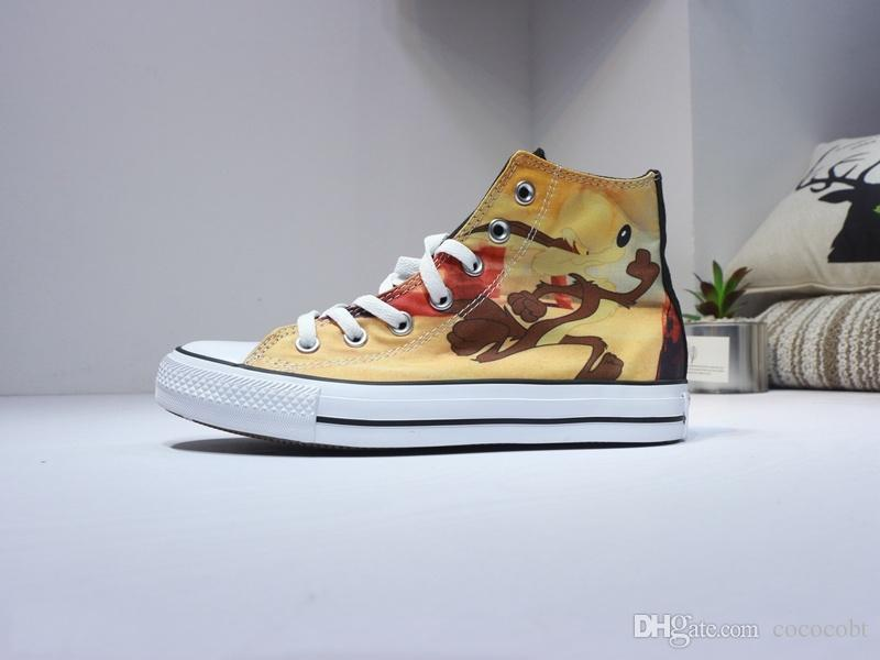 2018 Looney Tunes Canvas Casual shoes Black/yellow cartoon elements high top fashion denim shoes Sport Sneaker Size 36-44