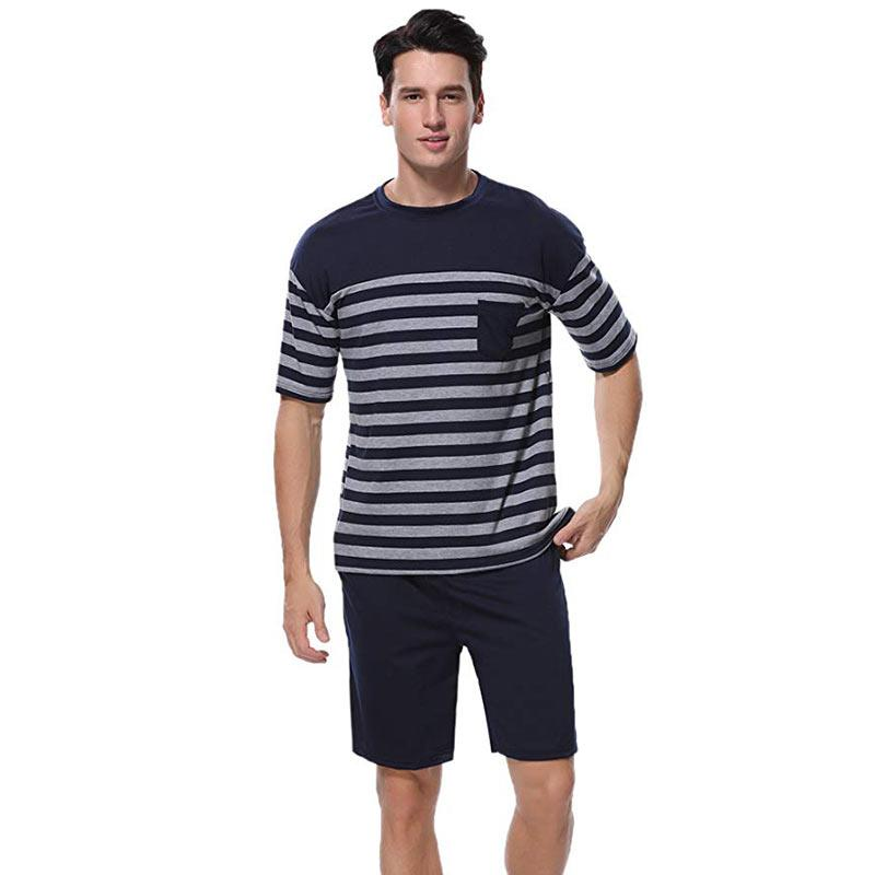 733be2c31ec4 2019 Pajamas Sets Men Clothes 2018 Short Sleeve Shorts Two Piece Summer  Casual Stripe Knitting Sleepwear Nightwear Homewear Home Suit From Cyril03