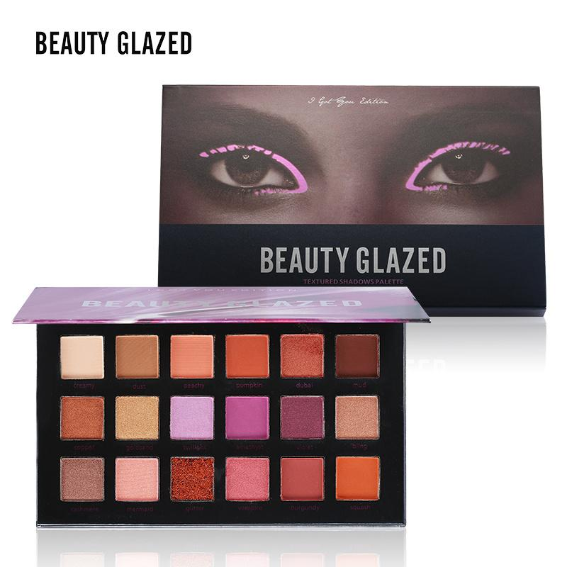 Beauty Glazed Brand 18 Colors Makeup Shimmer Matte Eyeshadow Palette Nude Mineral Warm Pigment Textured Eye Shadows Palette