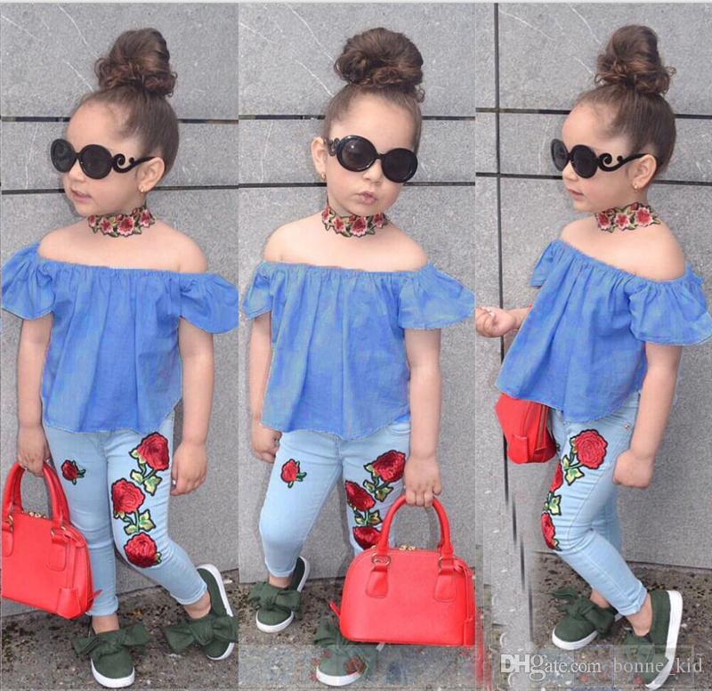 3a46474cf29 2019 Kid Baby Girl Clothing Flower Clothes Off Shoulder Tops T Shirt +  Pants Outfits Fashion Summer Kids Girls Clothing Boutique Costume From  Bonne kid