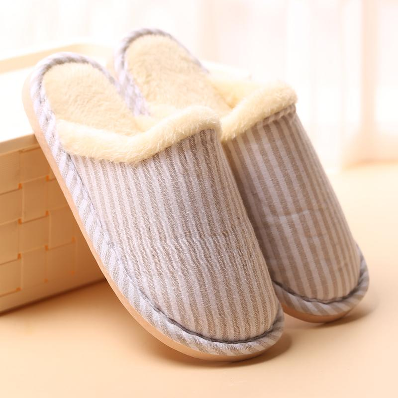 ae0fa690bf94 Women Men Indoor House Wood Floor Flax Cotton Slippers Winter Warm ...