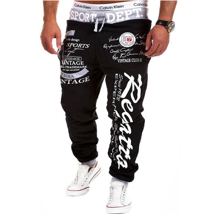 dbba166b3 2019 Mens Joggers Hot Fashion Letters Male Trousers Brand Men Pants Casual  Print Harem Pants Jogger Multi Color Large Size From Clothingdh, $27.37 |  DHgate.
