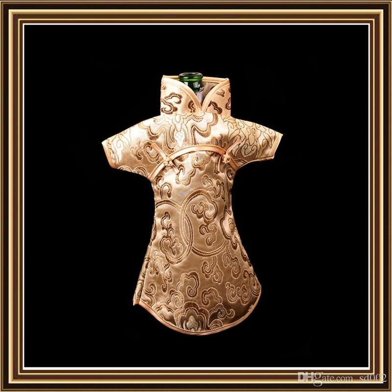 Wine Bottle Cover Dust Bag Chinese Silk Brocade Red Wines Packaging Pouch Wedding Decoration Multi Color 4jl C R