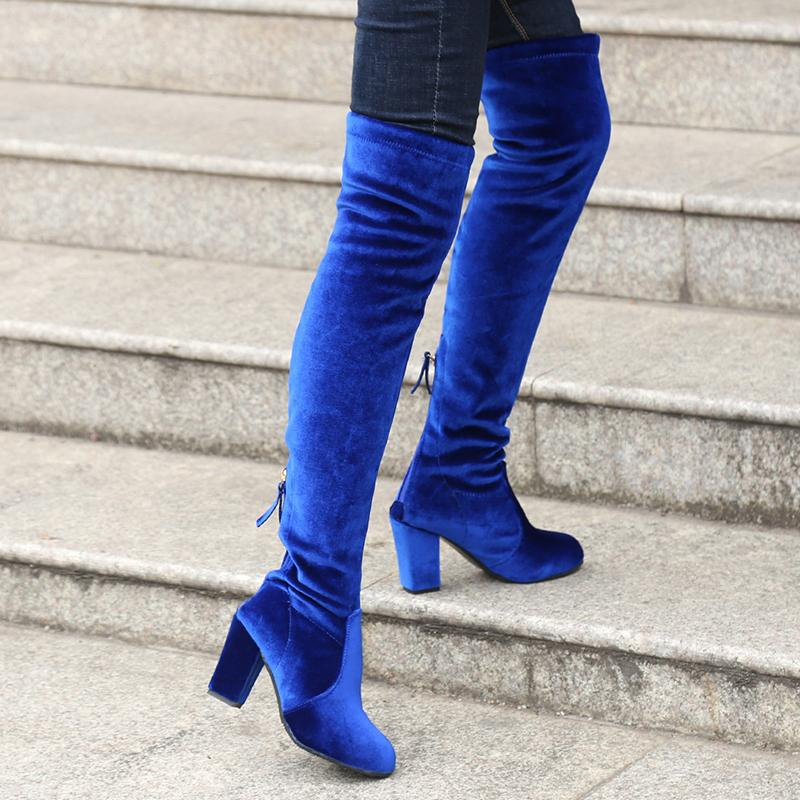 ddf4441f6c16 Bigsweety Square High Heels Slim Boots Female Over The Knee Boots Women  Motorcycle Boot Women S Thigh High Shoes Woman Low Boots Cheap Shoes Online  From ...