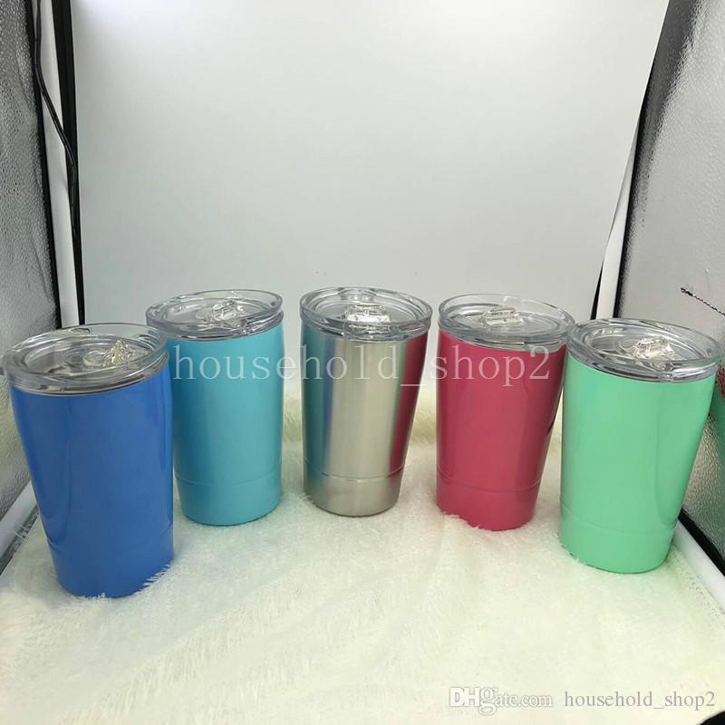 2018 NEUE 12OZ Edelstahl Tasse Doppelwand Multi Farben Hause Outdoor Wasser Tassen Kinder Becher mit Deckel und Stroh