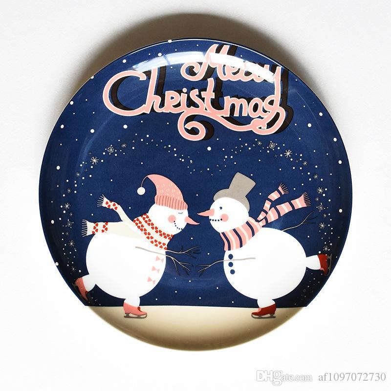 Weihnachten Keramikplatte Cartoon Handgemalte Steak Platte Obstschale Bone China Western Plate 8 Farben Optional