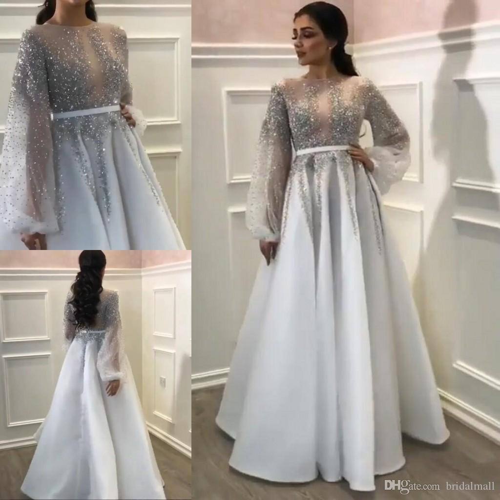 Sheer Neck Crystals Evening Dresses With Long Sleeves Beaded Sequins Arabic Formal Prom Gowns Zipper Back Bridal Guest Party Dress Plus Size