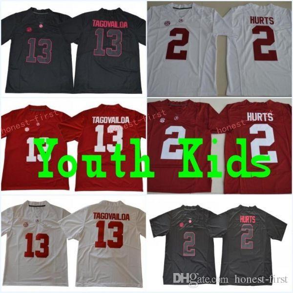 dcba174fc Youth  13 Tua Tagovailoa Kids  2 Jalen Hurts Alabama Crimson Red ...