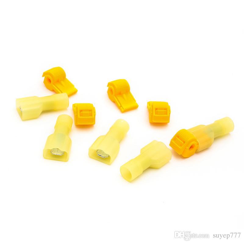 50 stücke Selbst Stripping Elektrische T-Tap Draht Spade Steckverbinder 22-16 / 16-14 / 12-10 AWG Manometer Schnellverbinder Drahtklemmen und Vollisoliert