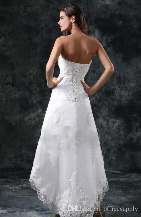 2018 Vestidos De Casamento Sexy Strapless Apliques de Renda Alta Baixa Pouco Marfim Branco Lace Up Voltar Praia de Verão Vestidos de Noiva Curto