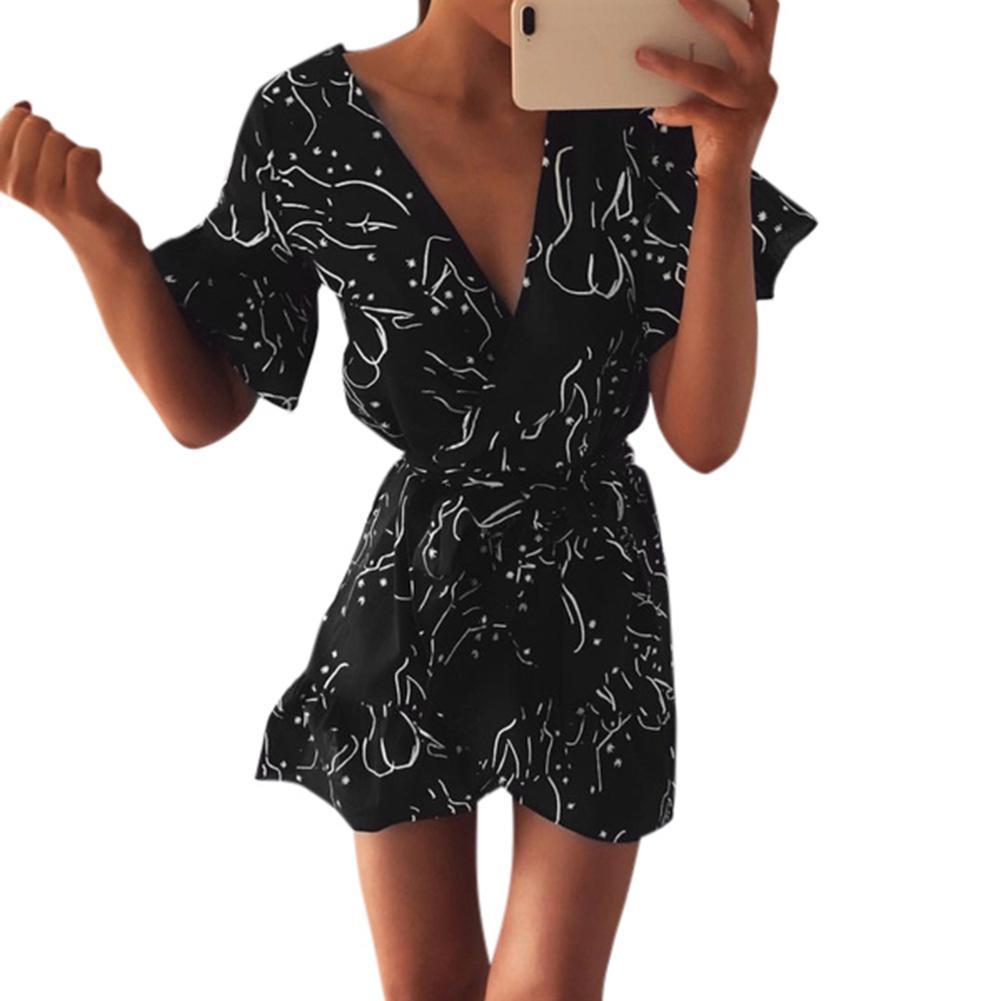 d59b767e86e Compre Mujeres Sexy Vestido Mini Vestido De Impresión Con Volantes De Manga  Corta Vestido De Playa Asimétrico 2019 Profundo Escote En V Vestido De  Fiesta ...