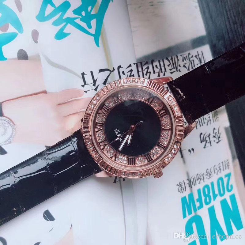 Cheap dress Women Watches Luxury Designer Quartz Wristwatch Rhinestone Leather strap female Watch for Ladies best gift relojes mujer
