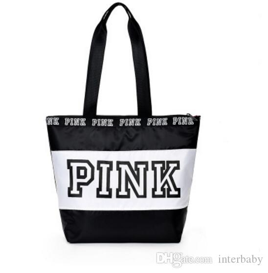 Pink Letter Handbags Pink Travel Duffle Bags Designer Beach Bag Hot Shopping Bags Fashion Floral Purses Printed Folding Shoulder Bags LD30
