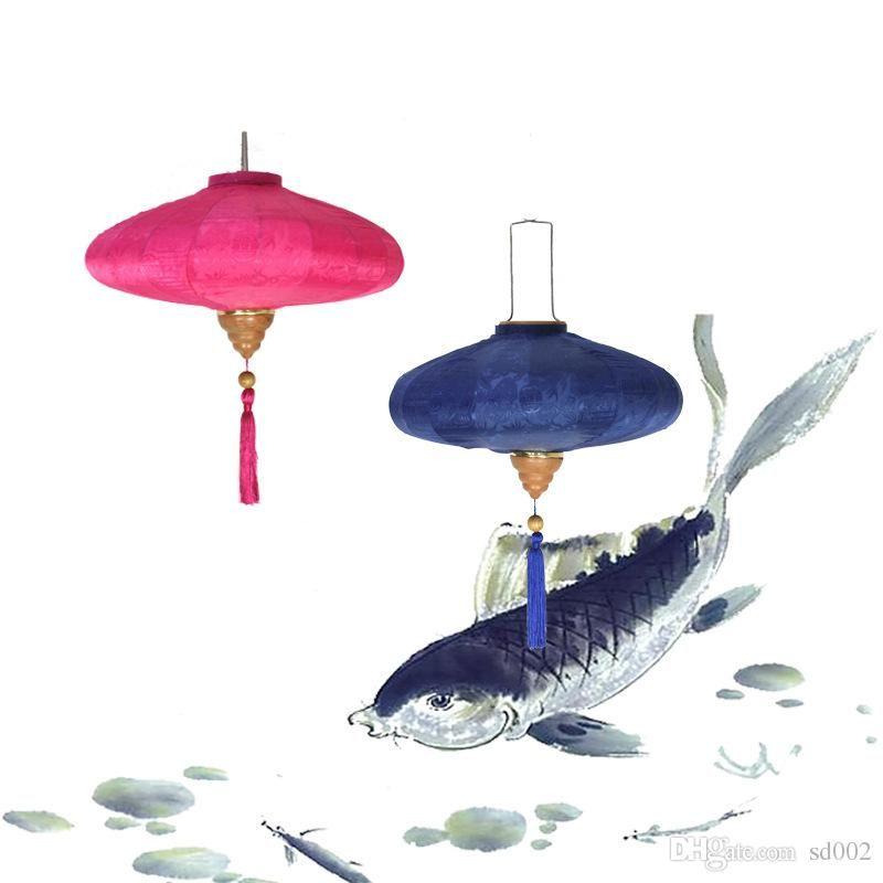 Satin Silk Hanging Lantern For Chinese Restaurant Decor Archaic