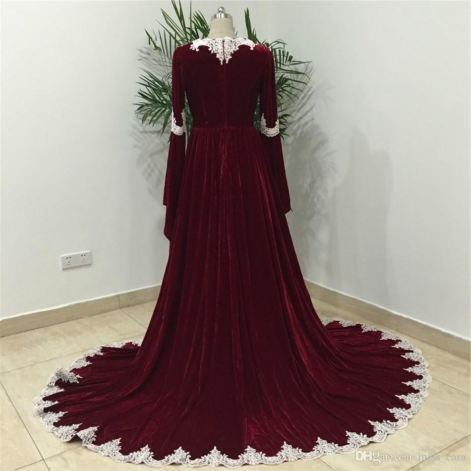 Real Photo Arabic Burgundy Velvet Formal Evening Dresses Lace Appliques Long Sleeves Caftan Dubai Prom Gowns Muslim Party Dress