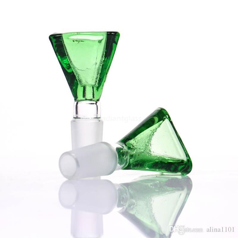 Нефрит 14mm/18mm голубой утки зеленого цвета стеклянной чаши треугольника зеленый для стеклянной барботера трубы водопровода или Бонга