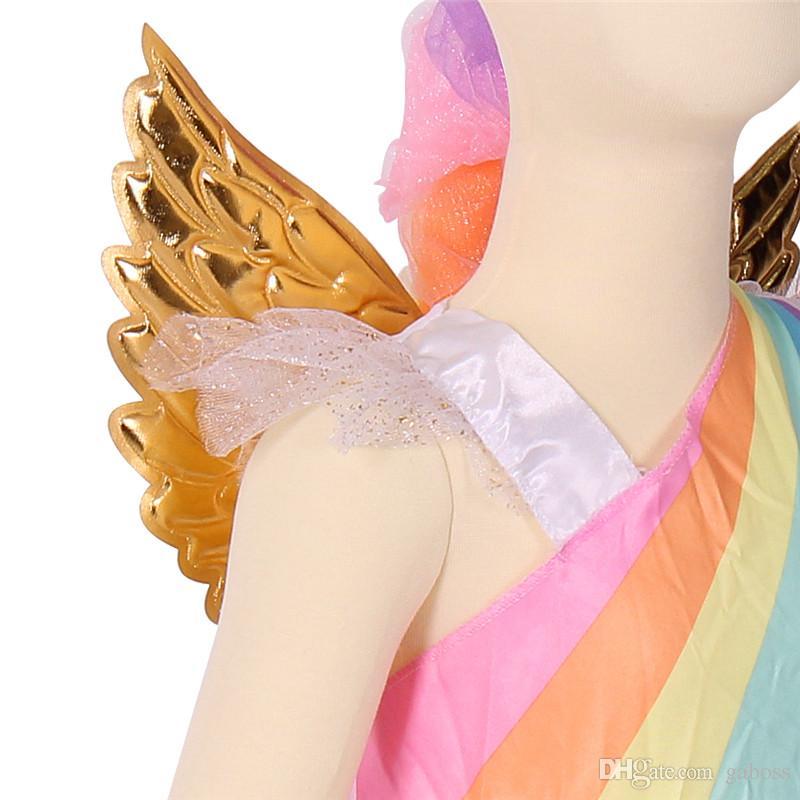 Unico arcobaleno Deluxe ragazze con ali d'oro Costume Unicorno Grande Halloween Costumi cosplay di unicorno la festa di carnevale di Halloween