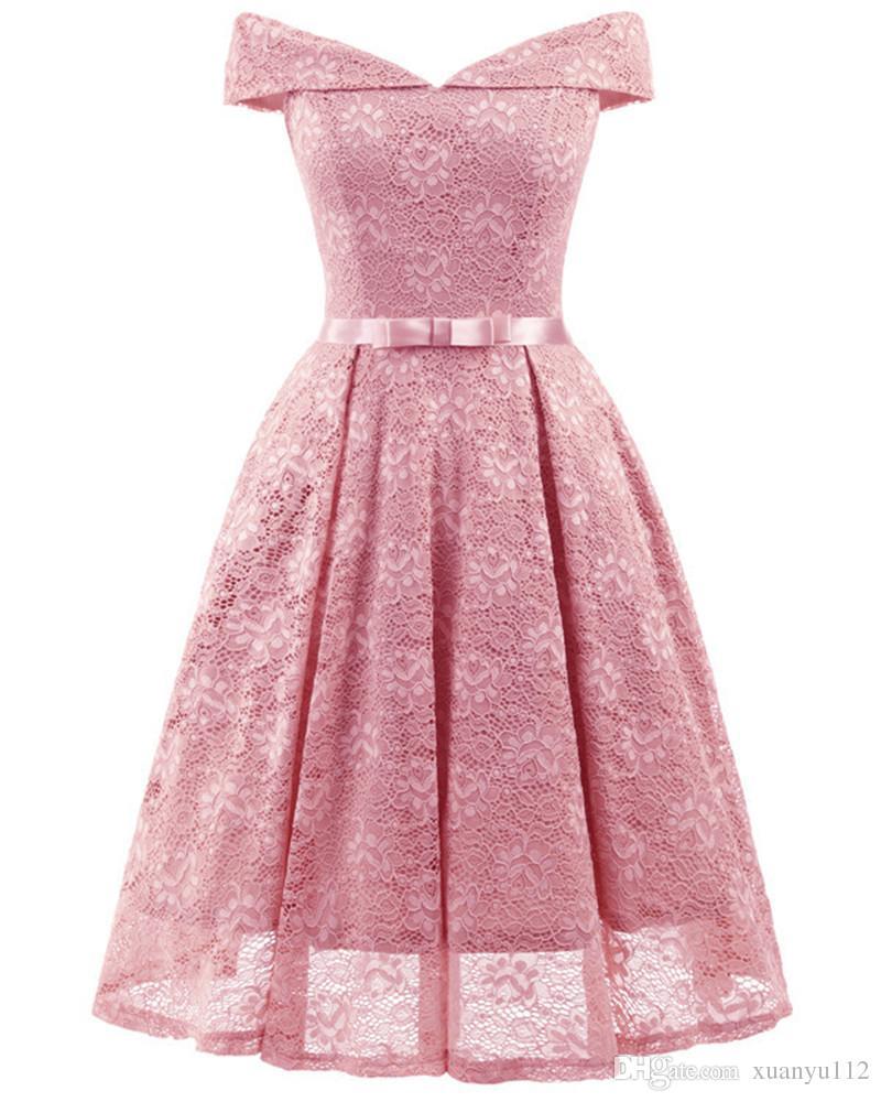 e877438ac62f Mingli Tengda 2018 rosa / rojo vestidos de dama de honor vestido sin  tirantes Vestidos cortos para el banquete de boda arco de encaje vestido de  ...