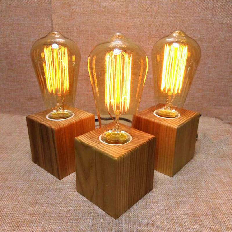 2019 Wooden Table Lamp Vintage Desk Lamp 40W Edison Bulb 110v 220V Bedroom  Night Light Table Light Desk Coffee Bar From Alluring, $36.77 | DHgate.Com