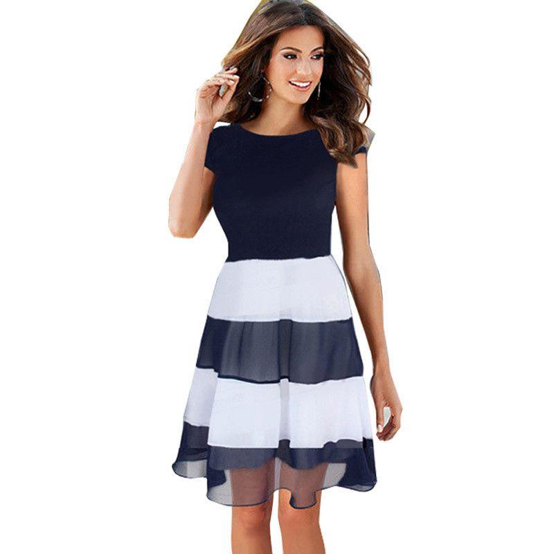 84284cca9dc Womens Shirt Dress 2017 Summer New Arrival Ladies Fashion Striped Patchwork  Short Sleeve Round Neck Chiffon Dresses Vestidos Dress Shirt Corset Dress  From ...