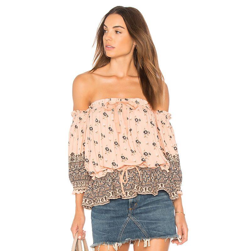 5a3174b85b 2019 Women Summer Blouses Chic Boho Floral Printed Sexy Off Shoulder  Ruffles Elastic Waist Shirts Bohemian Beach Holiday Casual Tops Fashion New  From ...