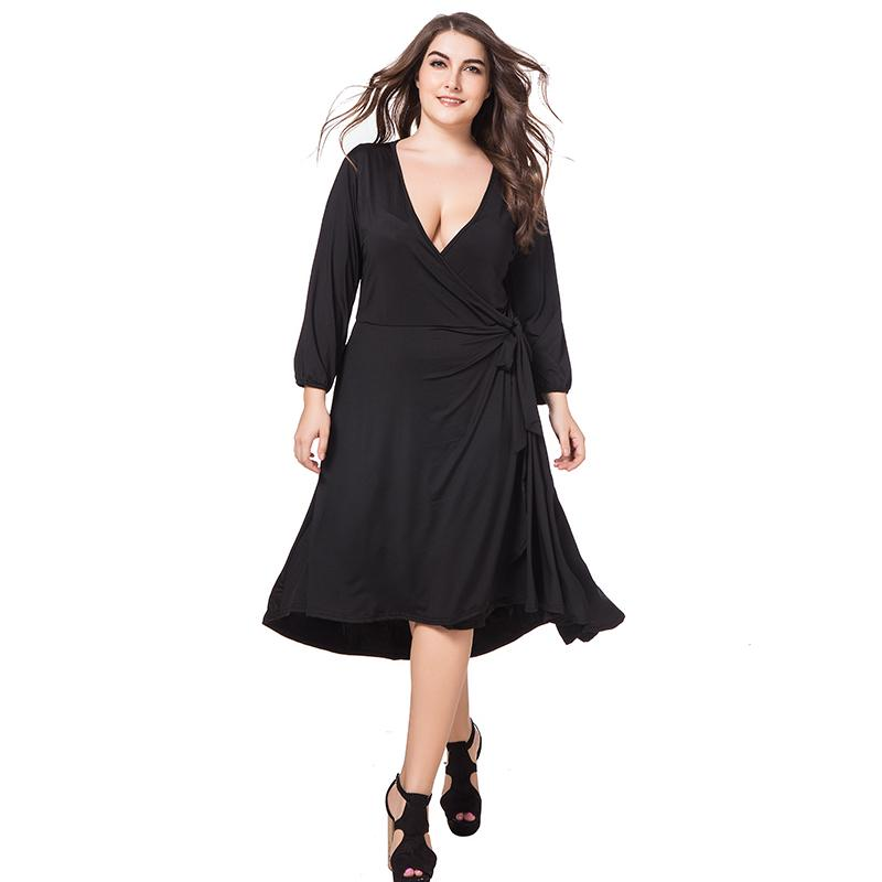 db19d3586e0 Acheter 2018 Printemps Automne Femmes Décontracté Robe Sexy Col En V 3 4  Manches A Line Plus La Taille 4xl Robe Genou Solide Bleu Rouge Noir De   36.24 Du ...