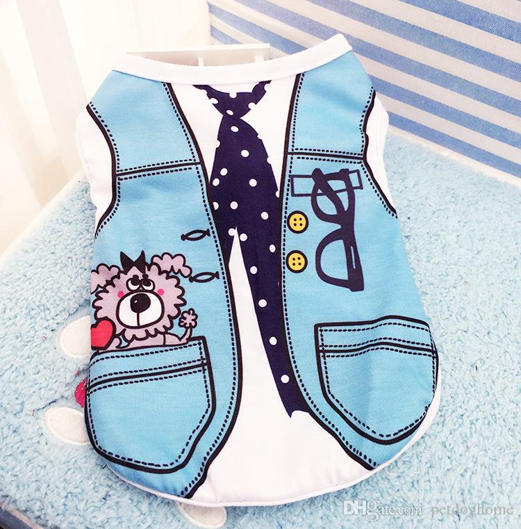 Summer Dog Vest Cotton T shirt Puppy Dog Clothes Chihuahua Shih Tzu Yorkshire Terrier Yorkie Bichon Clothes Pet Clothing Shirt