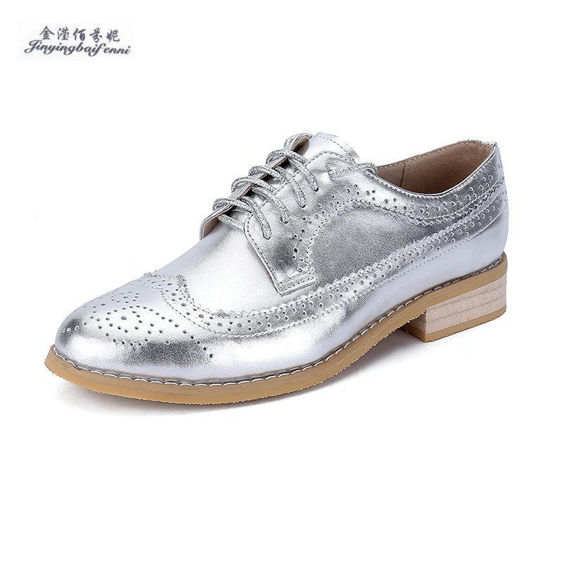e9253e9e85 Compre Sier Color De Alta Calidad De Cuero Genuino Oxford Zapatos Para Mujer  Con Cordones Brogues Talón Plano Oxfords Pisos Mujeres De Tamaño Pequeño 33  45 ...