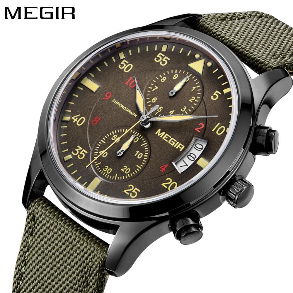 3b27313713a9 Compre Megir Reloj Hombre Relojes Para Hombre De Primeras Marcas De Lujo  Verde Reloj De Cuarzo Hombres Deporte Cronógrafo Reloj De Pulsera Para  Hombre ...