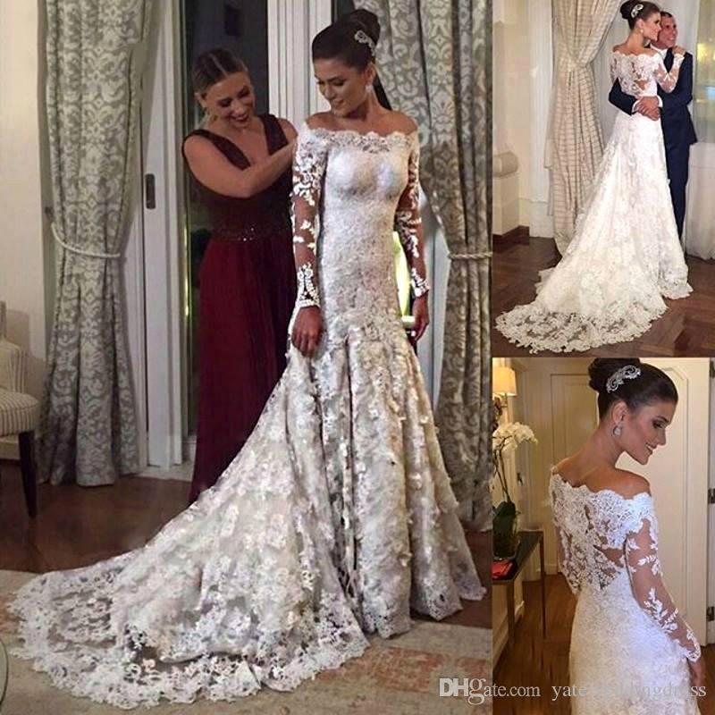 2018 화이트 레이스 인어 신부 가운 바투 섹시한 긴 환상 슬리브 웨딩 드레스 Applique Back 지퍼 맞춤형 웨딩 드레스